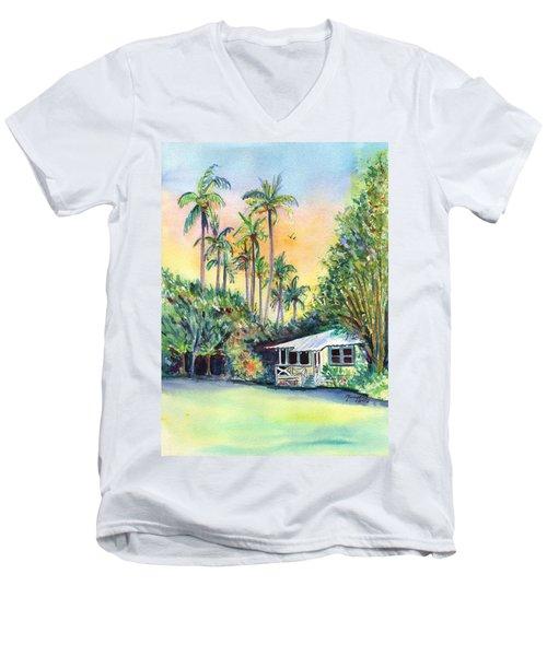 Kauai West Side Cottage Men's V-Neck T-Shirt by Marionette Taboniar