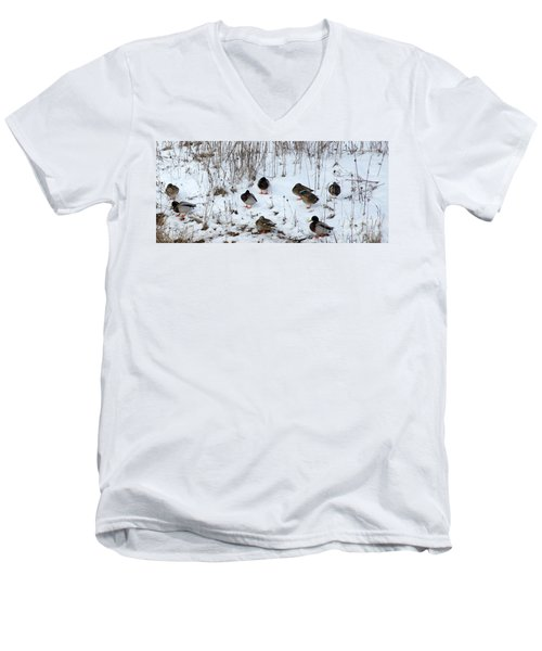 Keeping Warm Men's V-Neck T-Shirt
