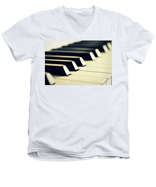 Keyboard Of A Piano Men's V-Neck T-Shirt by Chevy Fleet