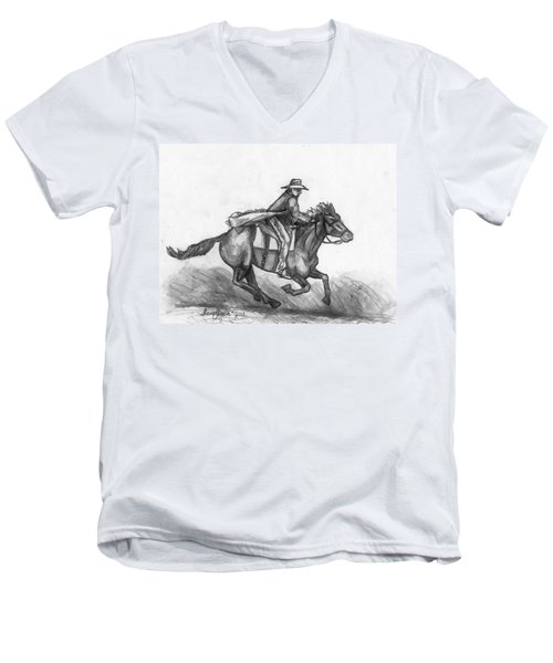 Men's V-Neck T-Shirt featuring the drawing Kickin Up Dust by Shana Rowe Jackson