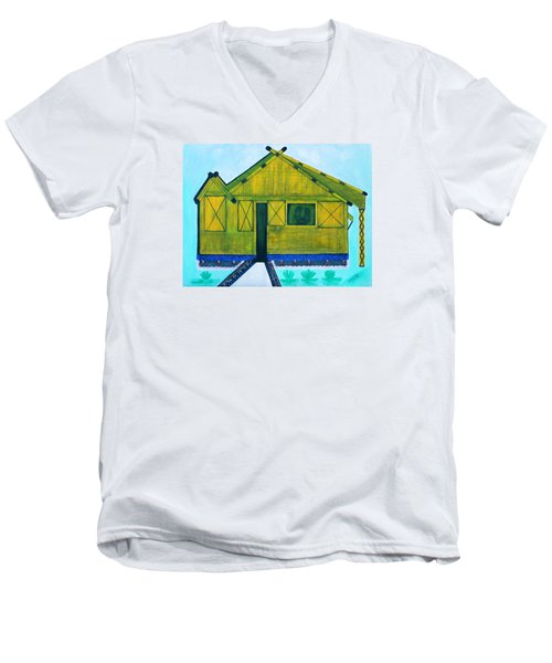 Men's V-Neck T-Shirt featuring the painting Kiddie House by Lorna Maza