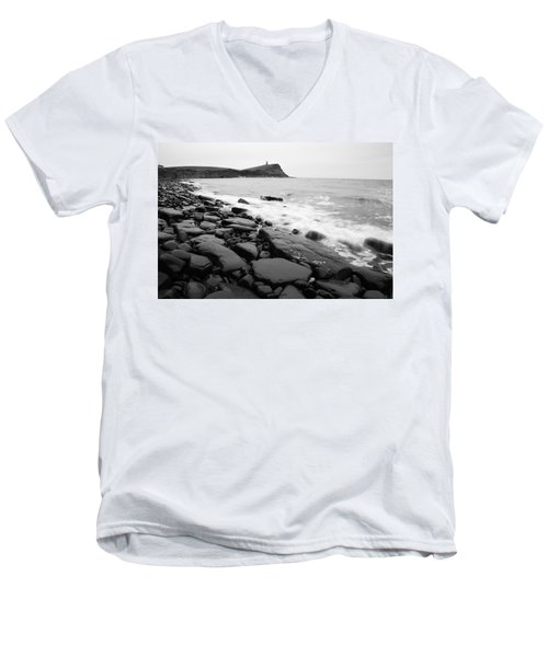 Kimmeridge Bay In Black And White Men's V-Neck T-Shirt