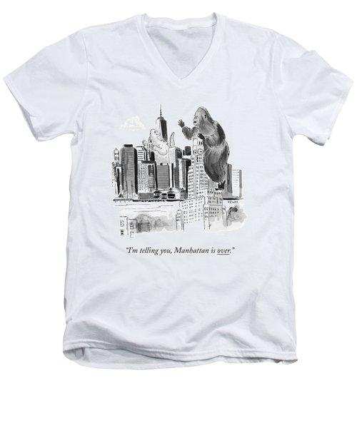 King Kong, Atop The Williamsburgh Savings Bank Men's V-Neck T-Shirt