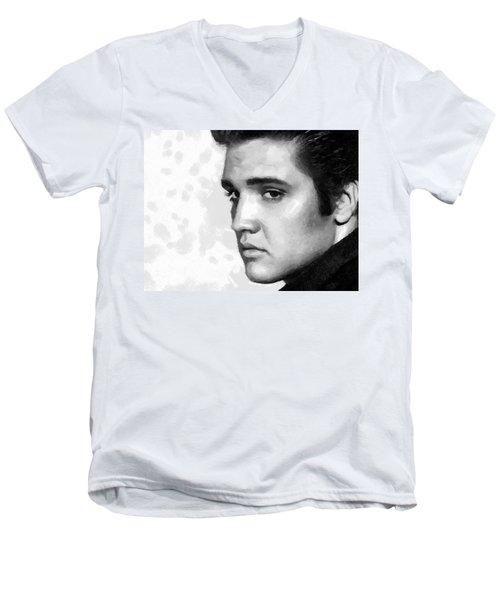 King Of Rock Elvis Presley Black And White Men's V-Neck T-Shirt by Georgi Dimitrov
