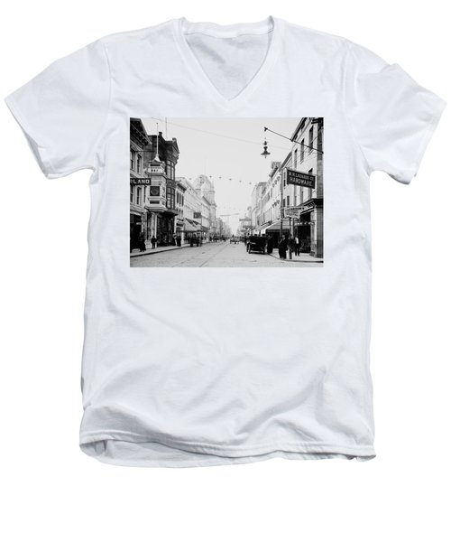 King Street In Charleston South Carolina Circa 1910 Men's V-Neck T-Shirt