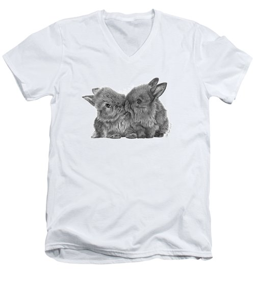 Kissing Bunnies - 035 Men's V-Neck T-Shirt