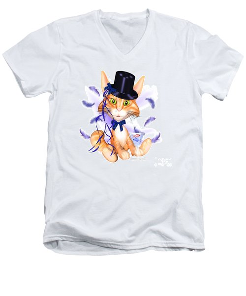 Kitticat Party Design Men's V-Neck T-Shirt by Renate Janssen