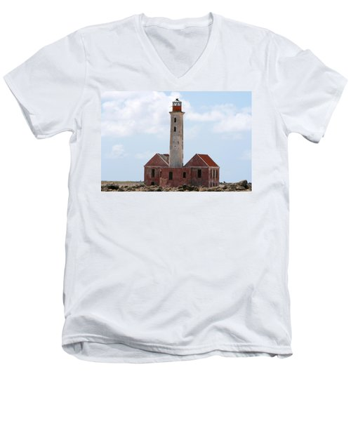 Men's V-Neck T-Shirt featuring the photograph Klein Curacao Lighthouse by David Millenheft