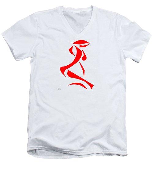 Kneeling Nude Men's V-Neck T-Shirt by Delin Colon
