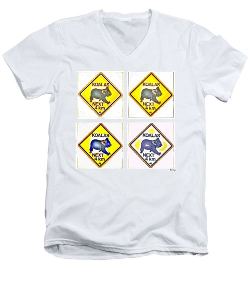 Koalas Road Sign Pop Art Men's V-Neck T-Shirt