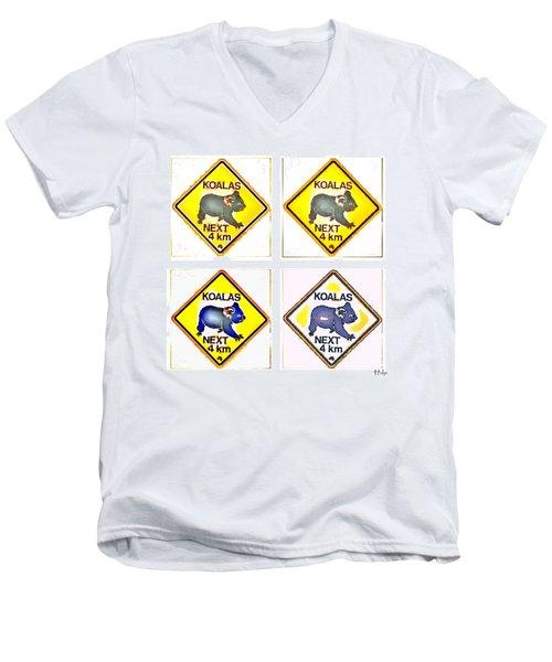 Koalas Road Sign Pop Art Men's V-Neck T-Shirt