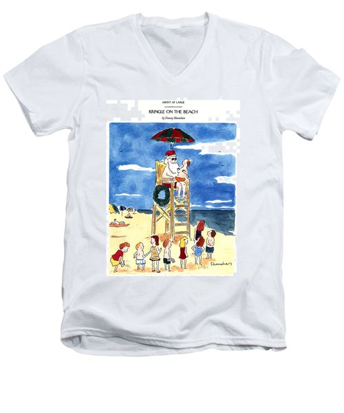 Kringle On The Beach Men's V-Neck T-Shirt