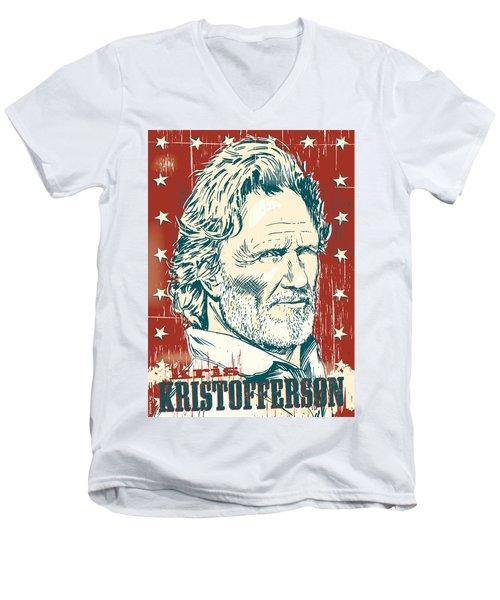 Kris Kristofferson Pop Art Men's V-Neck T-Shirt by Jim Zahniser