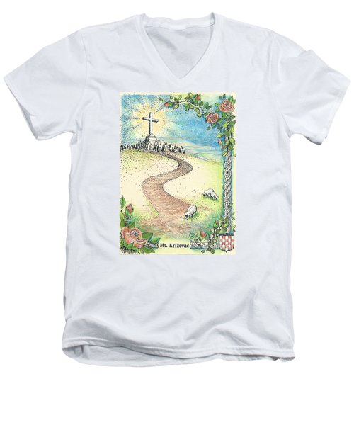Men's V-Neck T-Shirt featuring the drawing Krizevac - Cross Mountain by Christina Verdgeline