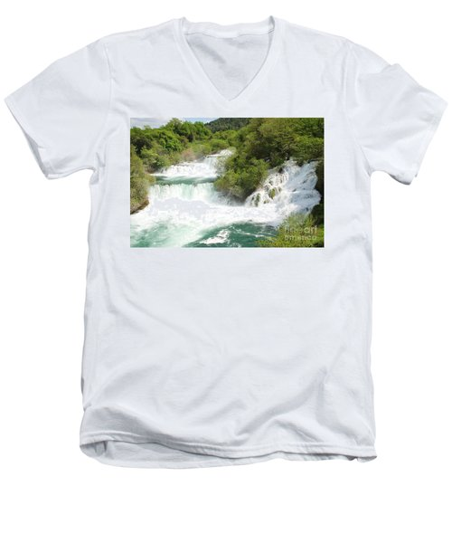 Krka Waterfalls Croatia Men's V-Neck T-Shirt
