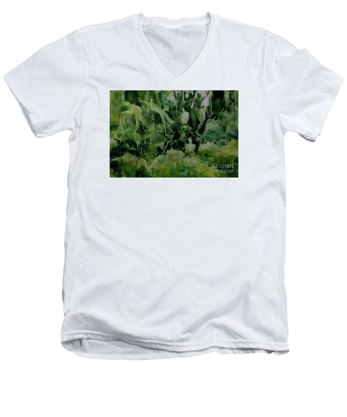 Men's V-Neck T-Shirt featuring the painting Kudzombies by Elizabeth Carr