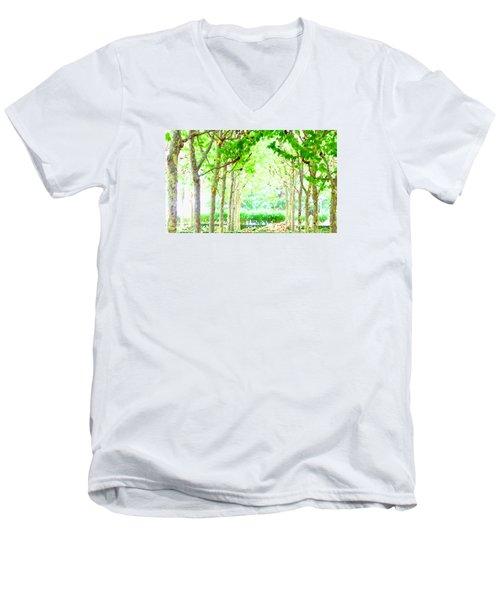 La Defense Platanuses Men's V-Neck T-Shirt by Oleg Zavarzin