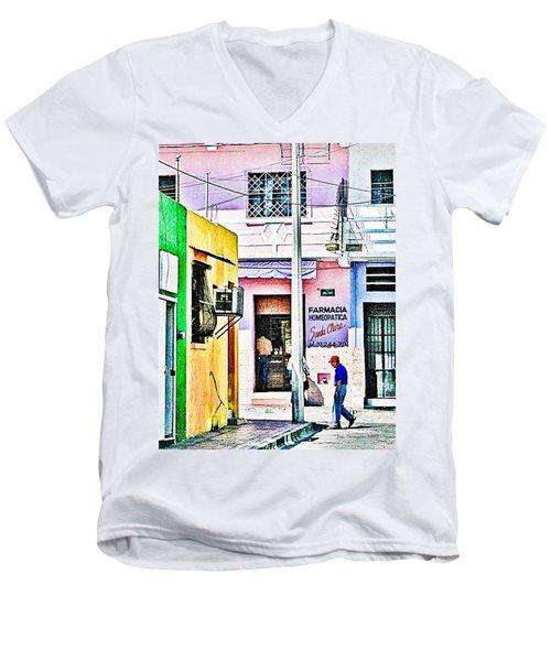 Men's V-Neck T-Shirt featuring the photograph La Farmacia by Jim Thompson