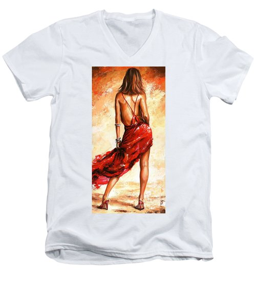 Lady In Red 40 Men's V-Neck T-Shirt by Emerico Imre Toth
