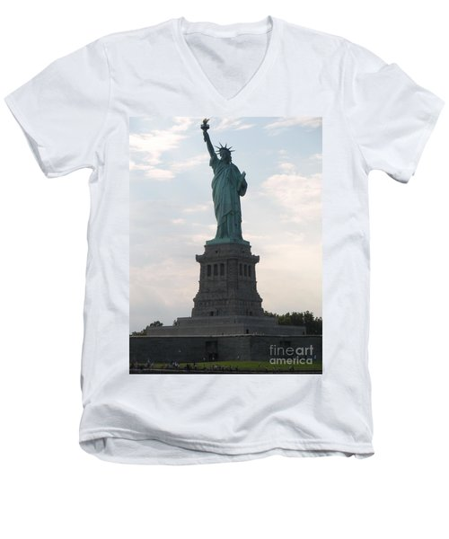 Men's V-Neck T-Shirt featuring the photograph Lady Liberty by Luther Fine Art