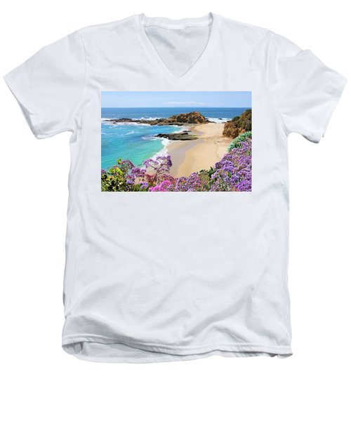 Laguna Beach Coastline Men's V-Neck T-Shirt by Jane Girardot