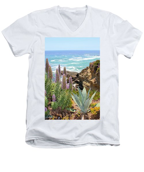 Laguna Coast With Flowers Men's V-Neck T-Shirt