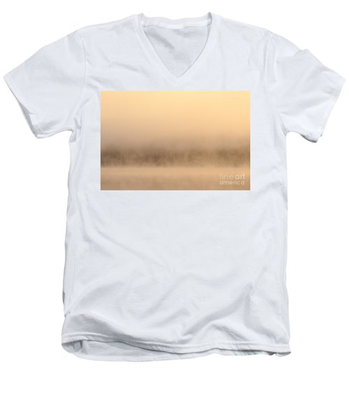 Lake Cassidy With Fog And Trees Along Shoreline Shrouded In Fog Men's V-Neck T-Shirt