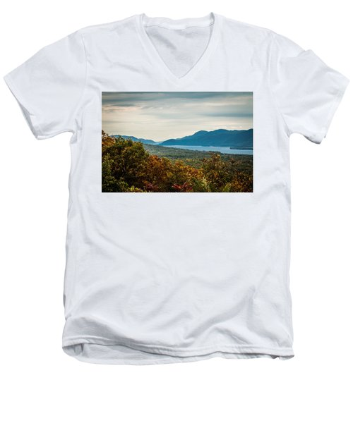 Lake George Men's V-Neck T-Shirt by Sara Frank