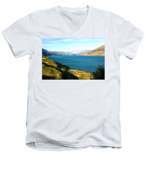 Men's V-Neck T-Shirt featuring the photograph Lake Hawea by Stuart Litoff