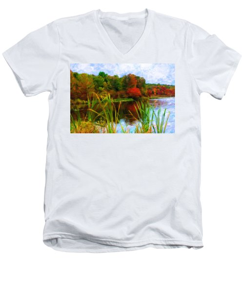 Lake In Early Fall Men's V-Neck T-Shirt