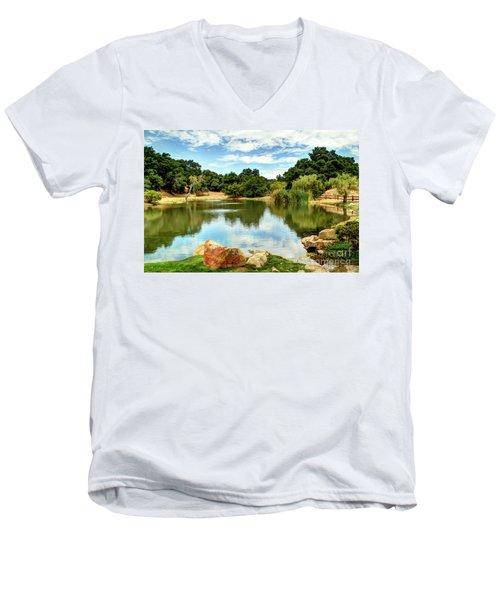 Lake Lucky Men's V-Neck T-Shirt by Bob Hislop