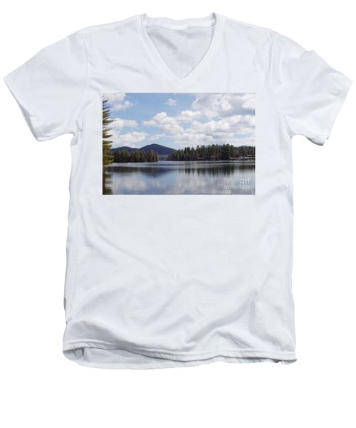 Men's V-Neck T-Shirt featuring the photograph Lake Placid by John Telfer