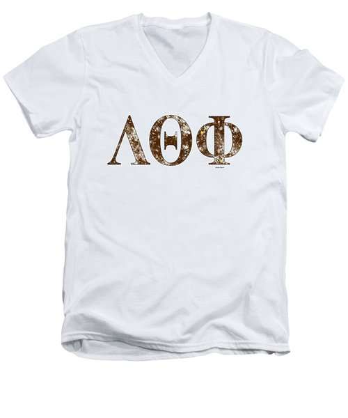Men's V-Neck T-Shirt featuring the digital art Lambda Theta Phi - White by Stephen Younts