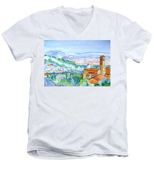 Tuscany Valley  Medieval Village Of Massa Men's V-Neck T-Shirt by Trudi Doyle
