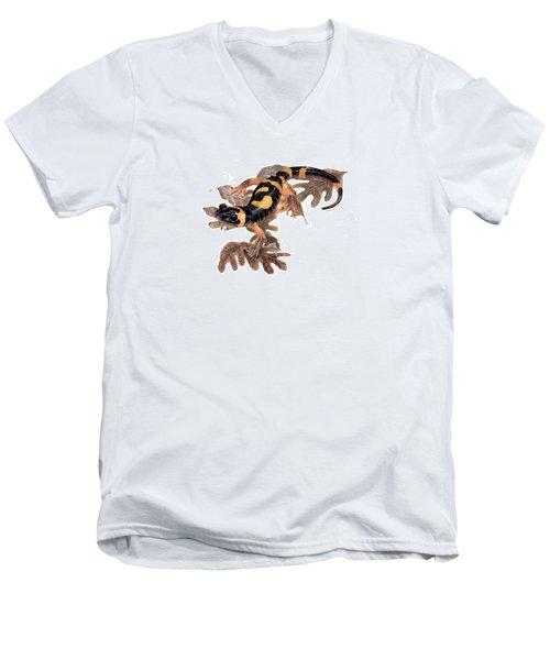 Large Blotched Salamander On Oak Leaves Men's V-Neck T-Shirt