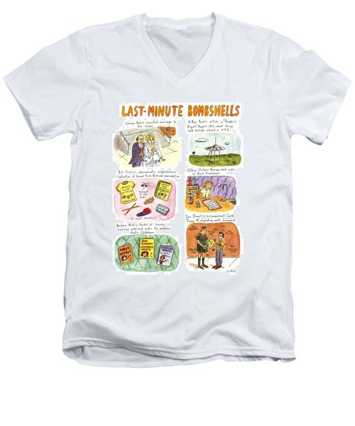 Last-minute Bombshells Men's V-Neck T-Shirt by Roz Chast