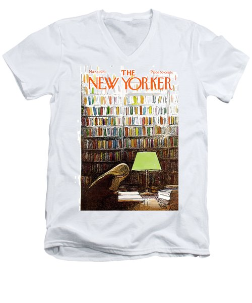 Late Night At The Library Men's V-Neck T-Shirt