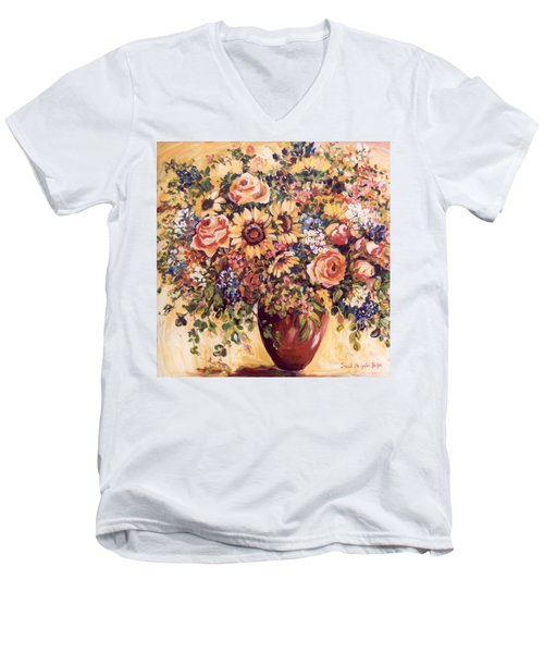 Late Summer Bouquet Men's V-Neck T-Shirt by Alexandra Maria Ethlyn Cheshire