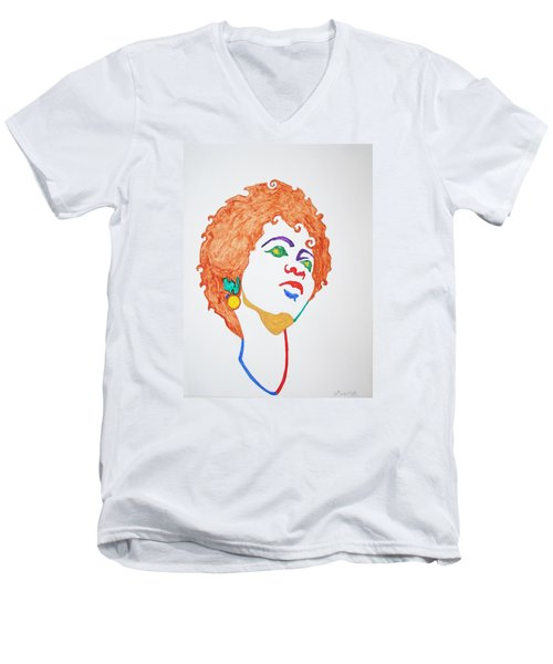 Men's V-Neck T-Shirt featuring the painting Lauryn Hill  by Stormm Bradshaw
