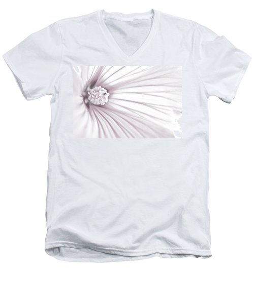 Lavatera Flower Stamen Macro  Men's V-Neck T-Shirt by Sandra Foster