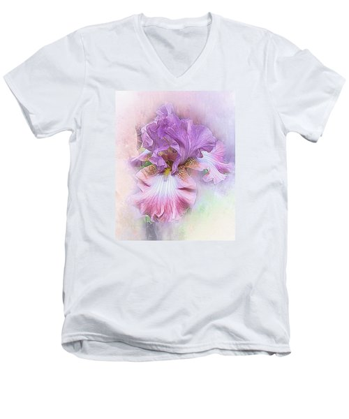 Men's V-Neck T-Shirt featuring the digital art Lavendar Dreams by Mary Almond