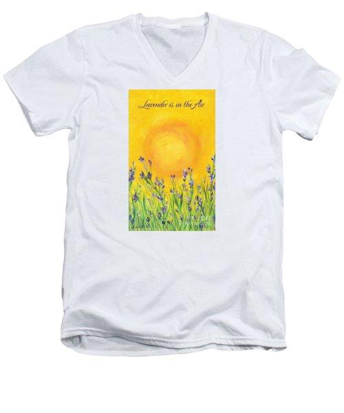 Lavender In The Air Men's V-Neck T-Shirt by Val Miller