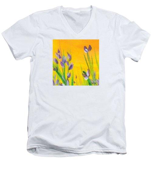 Lavender - Hanging Position 1 Men's V-Neck T-Shirt by Val Miller