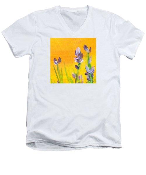 Lavender - Hanging Position 3 Men's V-Neck T-Shirt by Val Miller