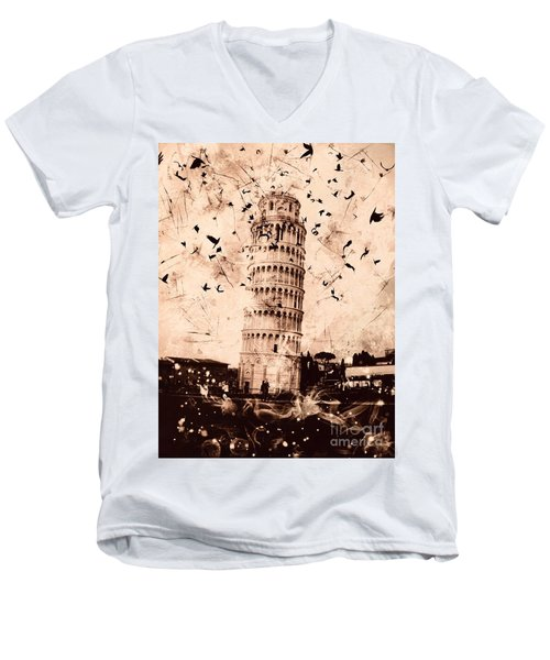 Leaning Tower Of Pisa Sepia Men's V-Neck T-Shirt