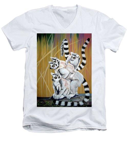 Leapin Lemurs Men's V-Neck T-Shirt
