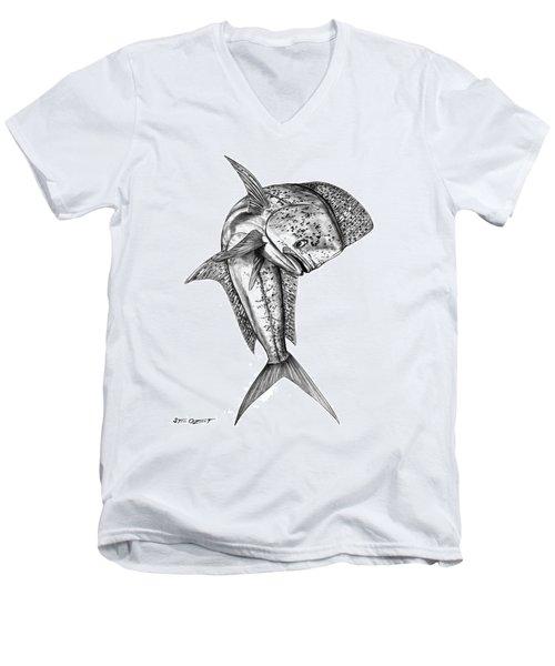 Leaping Dolphin  Men's V-Neck T-Shirt by Steve Ozment