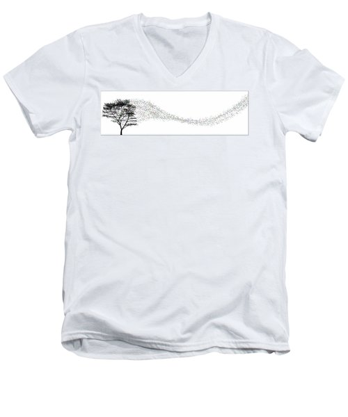 Men's V-Neck T-Shirt featuring the digital art Leaves In The Wind... by Tim Fillingim