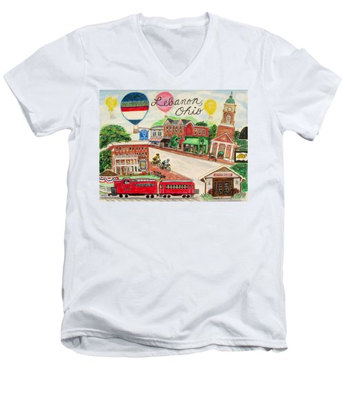 Men's V-Neck T-Shirt featuring the painting Lebanon Ohio by Diane Pape