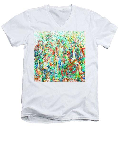 Led Zeppelin - Watercolor Portrait.1 Men's V-Neck T-Shirt by Fabrizio Cassetta